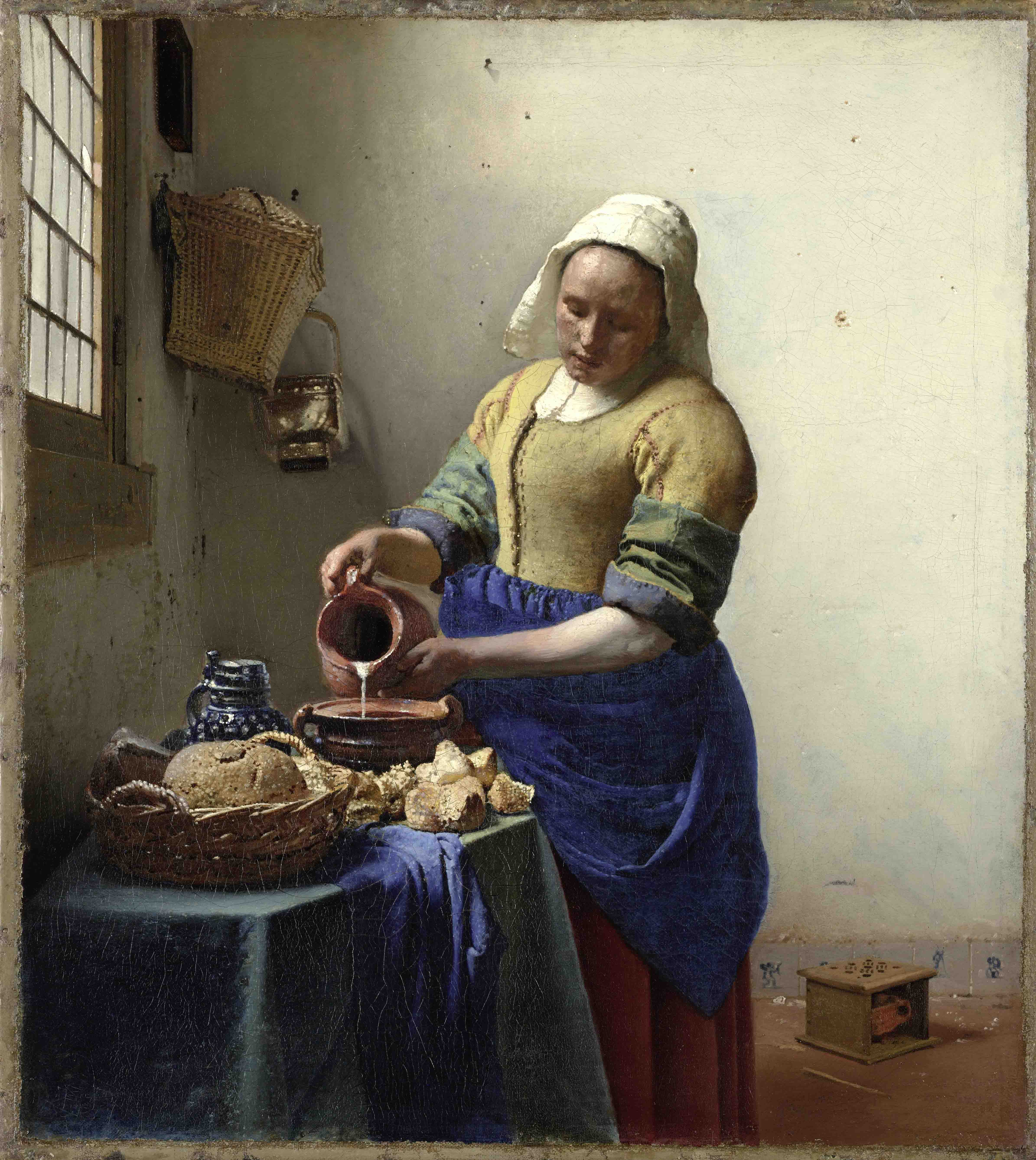 Lady seated at a virginal girl with a pearl earring the milkmaid the